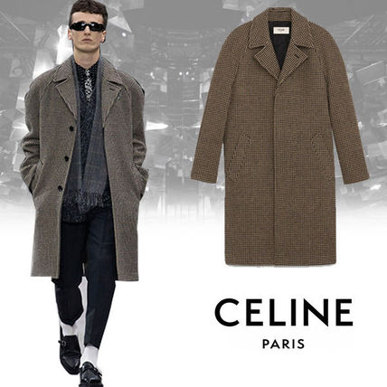 CELINE Chester Zigzag Wool Long Chester Coats