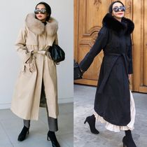 Casual Style Fur Street Style Plain Long Party Style