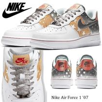 Nike AIR FORCE 1 Star Dots Round Toe Rubber Sole Lace-up Casual Style