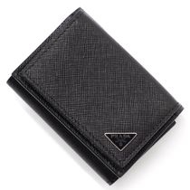 PRADA Calfskin Plain Folding Wallets