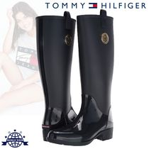 Tommy Hilfiger Rubber Sole Plain Mid Heel Boots