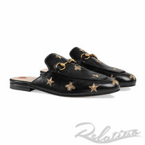 GUCCI Princetown Heart Star Round Toe Leather Elegant Style Slippers