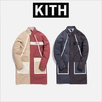 KITH NYC Stand Collar Coats Nylon Blended Fabrics Street Style Long