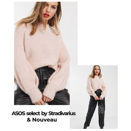 Cable Knit Short Casual Style Wool Rib Dolman Sleeves