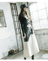 Flared Skirts Casual Style Maxi Faux Fur Pleated Skirts