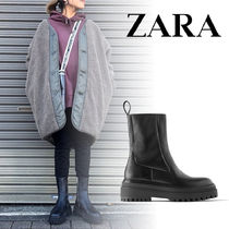 ZARA Casual Style Plain Leather Ankle & Booties Boots
