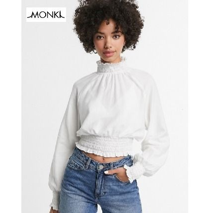 Short Casual Style Long Sleeves Plain Cotton Puff Sleeves