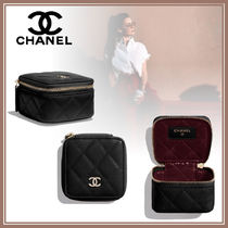 CHANEL Calfskin Leather Pouches & Cosmetic Bags