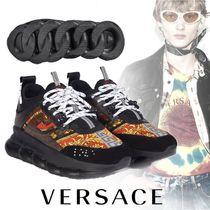 VERSACE Blended Fabrics Street Style Leather Sneakers