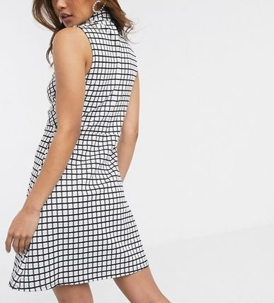 Short Other Plaid Patterns Casual Style Sleeveless