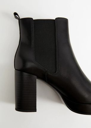 MANGO Ankle & Booties Square Toe Leather Block Heels Ankle & Booties Boots 3