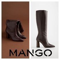 MANGO Plain Leather Block Heels Boots Boots