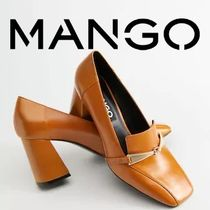 MANGO Square Toe Leather Block Heels Loafer & Moccasin Shoes