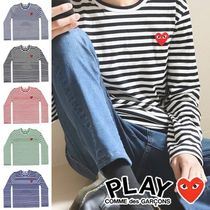 COMME des GARCONS Crew Neck Stripes Heart Street Style Long Sleeves Cotton