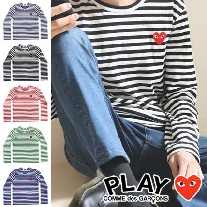 COMME des GARCONS Long Sleeve Crew Neck Stripes Heart Street Style Long Sleeves Cotton