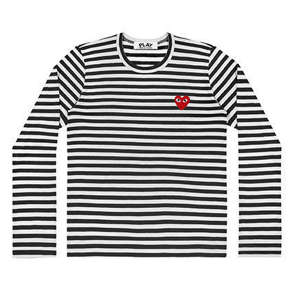 COMME des GARCONS Long Sleeve Crew Neck Stripes Heart Street Style Long Sleeves Cotton 2