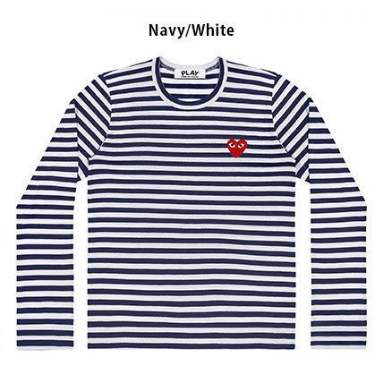 COMME des GARCONS Long Sleeve Crew Neck Stripes Heart Street Style Long Sleeves Cotton 3