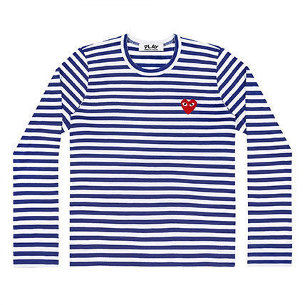 COMME des GARCONS Long Sleeve Crew Neck Stripes Heart Street Style Long Sleeves Cotton 4