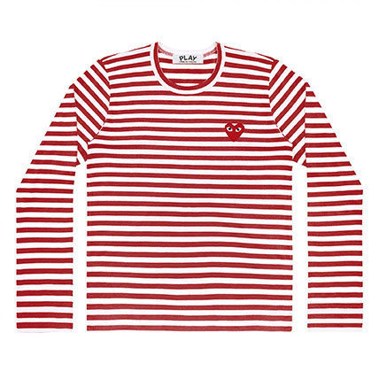 COMME des GARCONS Long Sleeve Crew Neck Stripes Heart Street Style Long Sleeves Cotton 6