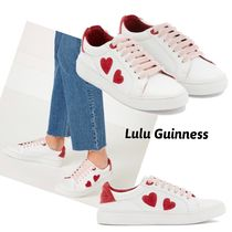 Lulu Guinness Heart Round Toe Lace-up Casual Style Leather