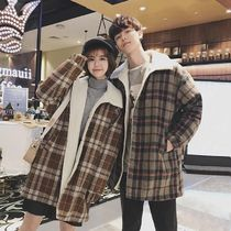 Short Other Plaid Patterns Wool Street Style Oversized Coats