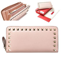 VALENTINO Studded Plain Leather Long Wallets