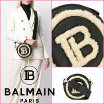 BALMAIN Casual Style Faux Fur Blended Fabrics Leather Party Style