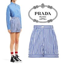 PRADA Short Stripes Cotton Denim & Cotton Shorts