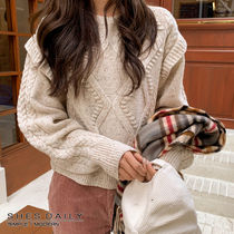 Cable Knit Casual Style Wool Nylon U-Neck Long Sleeves