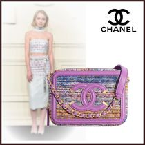 CHANEL Calfskin Chain Plain Party Style Elegant Style Clutches