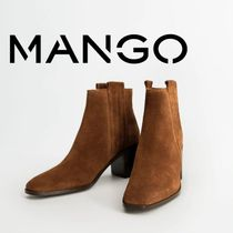 MANGO Square Toe Leather Block Heels Mid Heel Boots