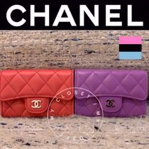 CHANEL MATELASSE Street Style Plain Leather Handmade Card Holders