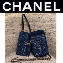 CHANEL MATELASSE Casual Style Denim Blended Fabrics Street Style Chain Plain