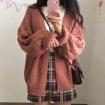 Cable Knit Casual Style Long Sleeves Plain Medium Knitwear
