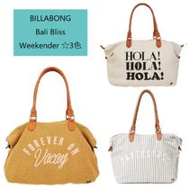 Billabong Stripes Casual Style Unisex Canvas A4 Plain Totes
