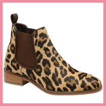 Lipsy Leopard Patterns Round Toe Casual Style Leather