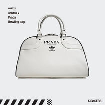 PRADA Unisex Street Style Collaboration Plain Leather Bags