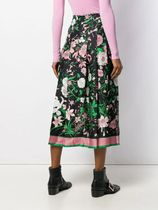 GUCCI Flower Patterns Silk Pleated Skirts Street Style Medium