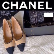 CHANEL ICON Plain Toe Casual Style Blended Fabrics Street Style Chain