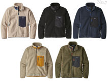 Patagonia Retro X Short Street Style Bi-color Plain Khaki Shearling Jackets