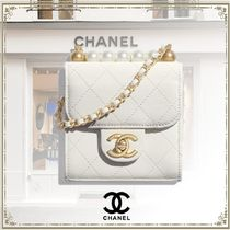 CHANEL Blended Fabrics Chain Leather Party Style Elegant Style