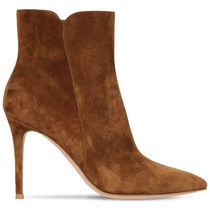 Gianvito Rossi Suede Plain Pin Heels Elegant Style Ankle & Booties Boots