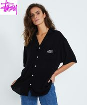 STUSSY Casual Style Plain Medium Short Sleeves Shirts & Blouses