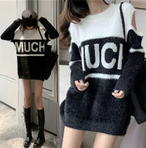 Cable Knit Casual Style Wool Blended Fabrics Street Style