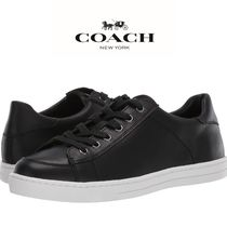 Coach Round Toe Casual Style Plain Leather Low-Top Sneakers