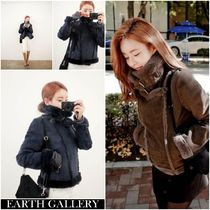 Faux Fur Plain MA-1 Oversized Bomber Jackets