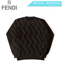 FENDI Crew Neck Unisex Wool Street Style Long Sleeves Sweaters