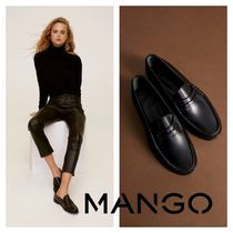 MANGO Square Toe Leather Loafer Pumps & Mules