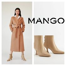 MANGO Leather Pin Heels Ankle & Booties Boots