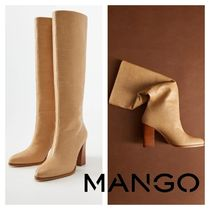 MANGO Round Toe Leather Block Heels High Heel Boots